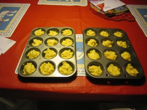 Pour mixture into muffin pan