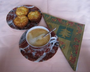 Cheese souffle and coffee